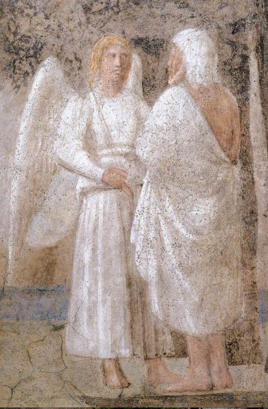Piero della Francesca, Morte di Adamo, dettaglio: il figlio di Adamo, Seth, con l'Angello alle soglie del Paradiso Terrestre, da Storie della Vera Croce, Arezzo, Basilica di San Francesco