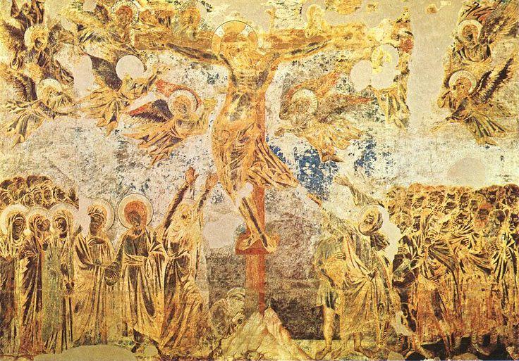 Распятие.Чимабуэ. 1280 - 83 гг. Верхняя церковь Ассизи.