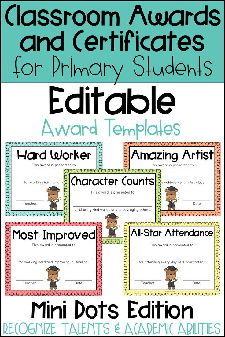 Editable Awards And Certificates Classroom Awards Mini Dots Classroom Awards Classroom Awards Certificates Classroom