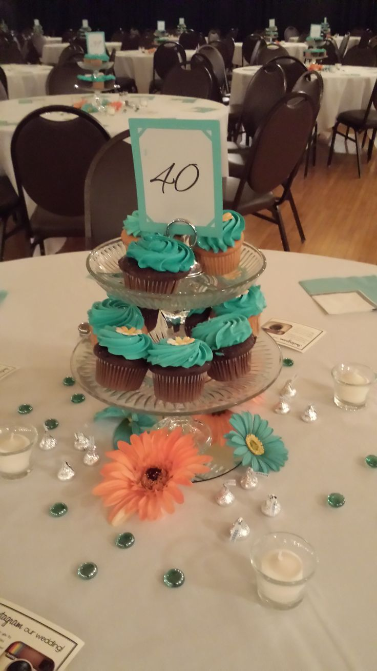 Turquoise Cupcake Centerpiece at the Chandelier Ballroom