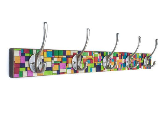 Wall Coat Rack  Handmade Paper  Stained Glass  Mosaic by calyrew