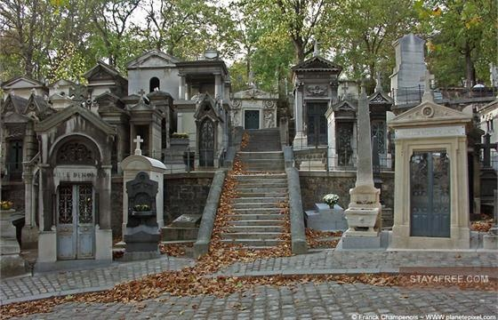 The Pere Lachaise Cemetery; beautiful and full of ancient monuments and sculptures;