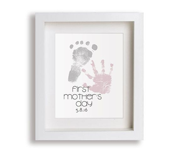 New Mother Gift - First Mother's Day Art Print, Personalized Hand and Foot Prints, Mothers Day Gift, Gift for New Mom, Hand Print, Foot
