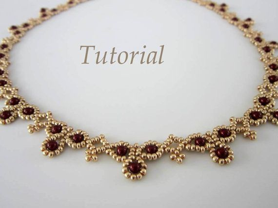 PDF tutorial Necklace Leuviah seed beads SWAROVSKY pearls
