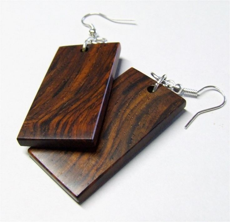 pictures of handmade wooden earrings   Exotic Wood Earrings - Handmade Cocobolo Rosewood Earrings