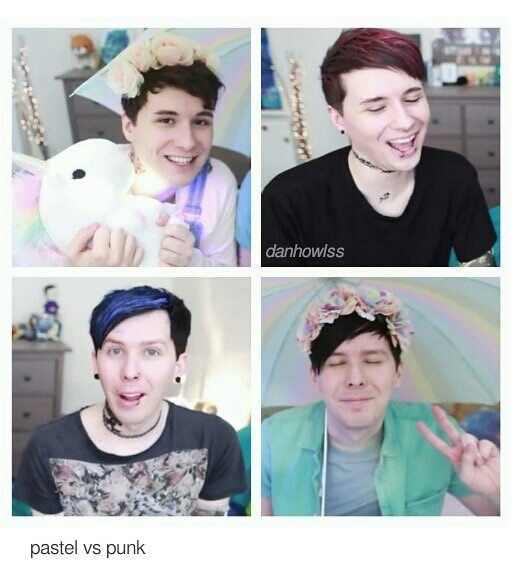 I like punk Dan more. And pastel Phil more.<<< Idk I REALLY LOVE the pastels