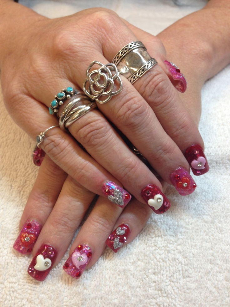 79 best las vegas casino nail art images on pinterest las nail art las vegas shared this blingy valentines day nails prinsesfo Choice Image