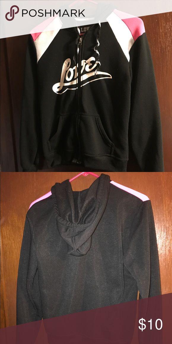 Love Zip Up Hoodie Black, pink, and white zip up hoodie that says love across it. I only wore this twice! love ❤️ Tops Sweatshirts & Hoodies