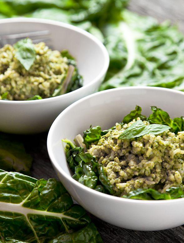 Pesto Brown Rice with Sautéed Swiss Chard (Vegan & GF)