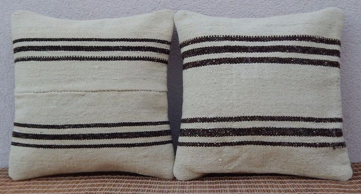 16''x16'' Vintage Turkish Handmade Paired  SET of 2 Cream Kilim Pillow Covers #Handmade #FrenchCountry