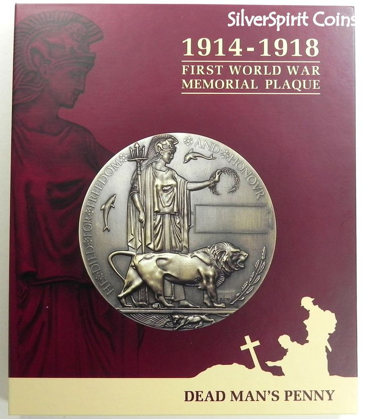 DEAD MANS PENNY 1914-1918 MEMORIAL 120mm First WW Plaque Medallion in Booklet