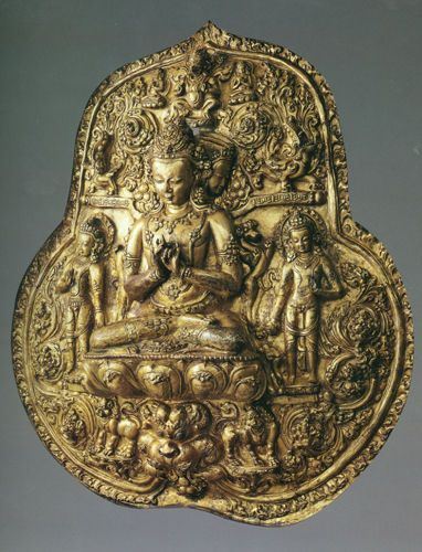 Tibetan Buddhism. Gilt copper casting Buddhist statue, originally belonged to one of the temple of Danza from Nepal