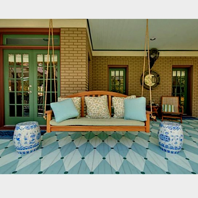 There's painting your deck, and then there's PAINTING YOUR DECK! This floor design adds so much interest to the space!