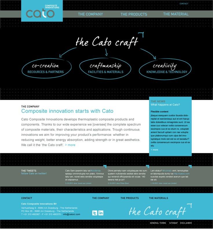 Website voor Cato, producent van versterkte kunststoffen