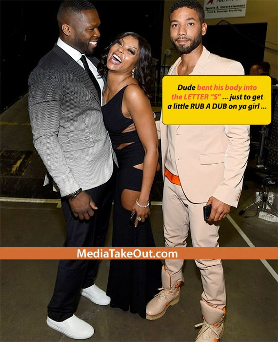 EXTREME THIRST!! Rapper 50 Cent Was Being REAL FRESH With TARAJI HENSON . . . He Was DOING THE MOST . . . To Try And RUB UP ON HER!!! (Updated)