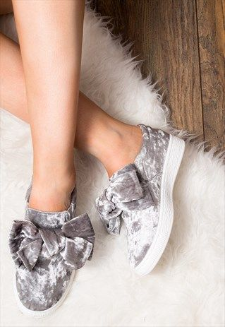 GEORGIE FLOWER FLAT TRAINERS SHOES - GREY VELVET STYLE