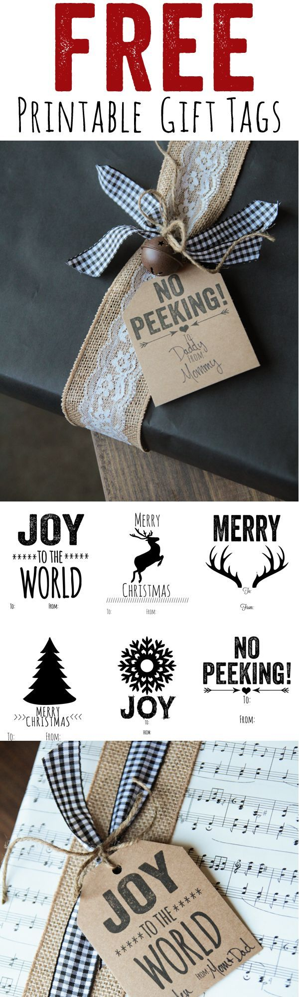 Free Printable Christmas Gift Tags from @Shanti Paul Paul Leeuwen Yell-2-Chic.com.........I just like the idea of the ribbon and burlap!