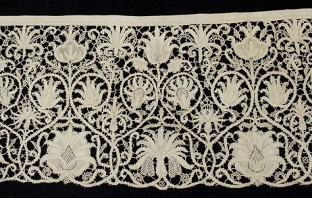 A History of Lace by Liz Hager: Punta in Aria lace panel, ca. 1620. It wasn't until the Renaissance, however, that looping threads around each other became the accepted method for making lace. Beginning in the 15th century, lace proliferated, along the way acquiring both prosaic names for the places in which it originated—Belgian, Irish, Reticella, Chantilly, Valenciennes—as well as more poetic names relating to its various styles—Point Arabe, Punta in Aria, Ave Maria. Regardless, all…