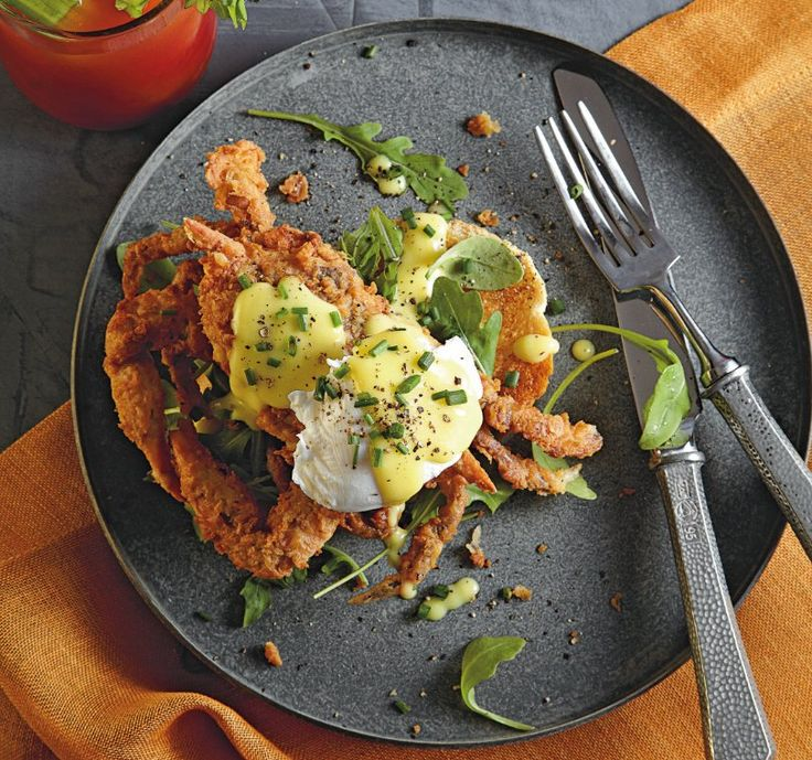 fried soft shell crabs benedict recipe  --- i also find this hilarious because you end up with a little crab on your plate with an egg on his little head... and that cracks me up.  don't judge.