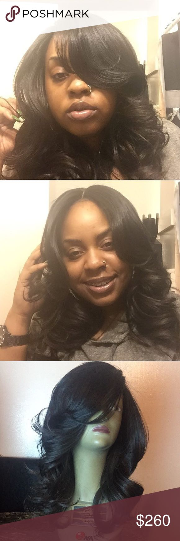 """Lace front unit 18"""" virgin hair , styled in nice curls , can be worn as middle or side part . wig Other"""