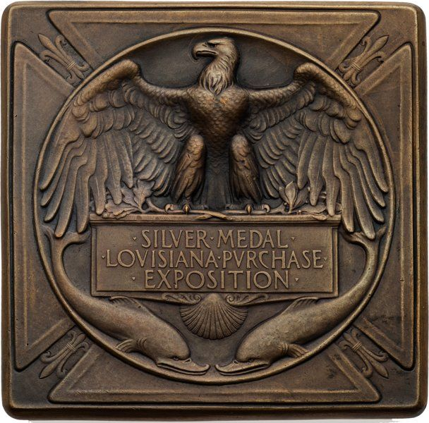 1904 Louisiana Purchase Exhibition Silver Award Medal (reverse). Part of the Harmer Johnson Olympic Collection sale, Heritage Auctions, Nov. 17-19. Estimated hammer price: $200+.