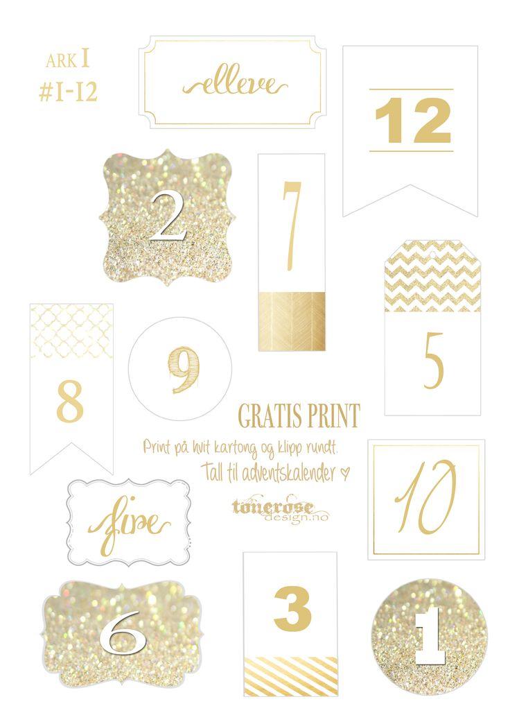 Tall 1-12 til adventskalender julekalender tonerosedesign