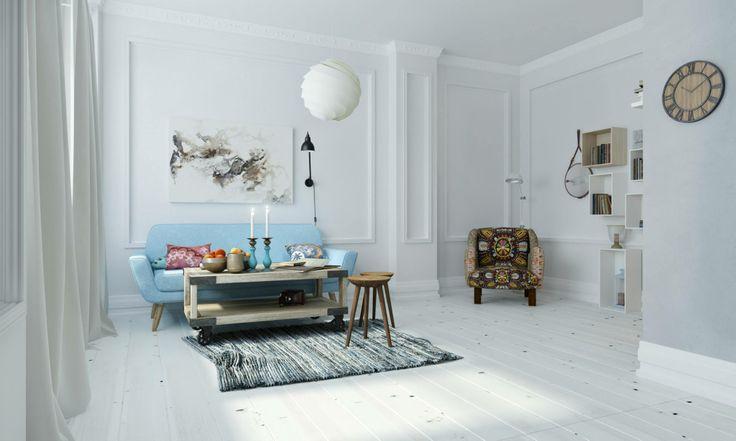 Moskwa. Mieszkanie w skandynawskim stylu. Projekt oraz wizualizacje: Evgenia Ignatova Interiors