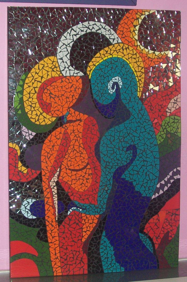 cuadro mosaico pareja abstracta replica de la obra del On cuadros mosaicos ceramica