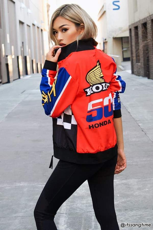 884609e29c613d FOREVER 21 Honda Graphic Bomber Jacket with colorblock design  fashion   style  shopping affiliate