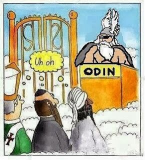 Funny Heaven Cartoon Joke Image -  Different religions faiths surprised to find Odin at the pearly gates