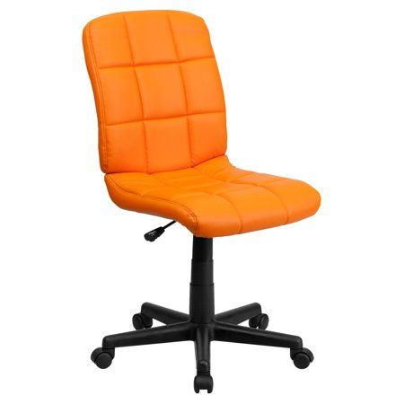 orange office chair alec wing flash furniture mid back quilted vinyl swivel armless task multiple colors products desk