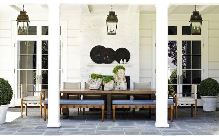 Jeffrey Alan Marks - decks/patios - white siding, siding, transom window, french doors, outdoor fireplace, white brick fireplace outdoor whi...