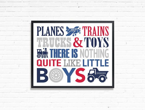 Print for little boy Planes trains trucks and toys Boys Room