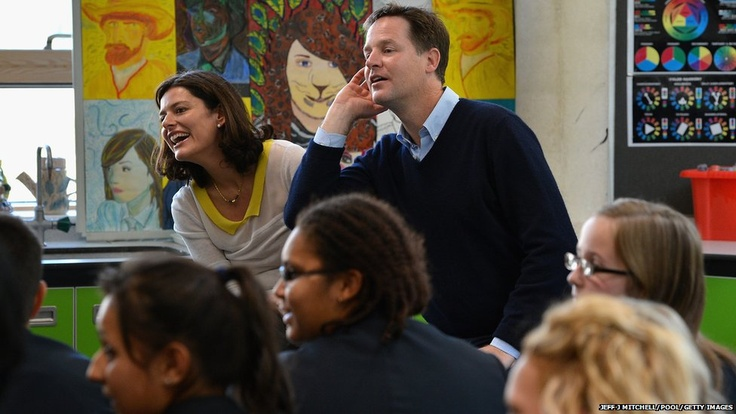 Leader of the Liberal Democrats Nick Clegg and his wife Miriam visit Brighton Aldridge Community Academy during their party's annual conference. In his speech Mr Clegg will announce that secondary schools in England are to receive an extra £500 to help every pupil arriving in Year 7 having slipped behind in English and maths at primary school.