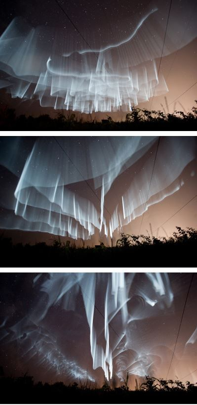 These northern lights in Finland and they just look like such beautiful white ribbons being dragged thru the sky