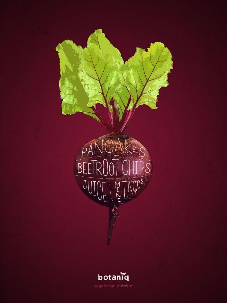 """Botaniq Vegan & Vegetarian Restaurant: Beetroot  """"Vegetarian butcher.""""  Advertising Agency: Hjaltelin Stahl, Copenhagen, Denmark Art Director: Karl Alexander Veng Illustrator: Lauritz Hansen Published: December 2015"""