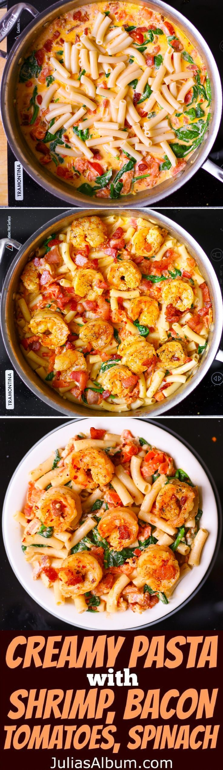 Creamy Pasta with Shrimp, Bacon, Spinach, Tomatoes, Garlic.