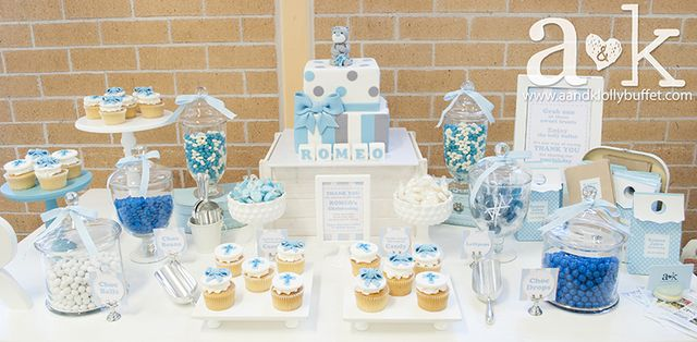Blue and white baptism party ideas boys baby boy and for Baby dedication decoration