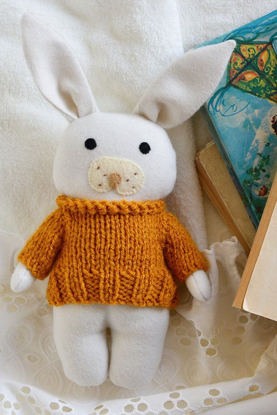 Sunflower bunny stuffed toy animal soft toy white by Fernlike
