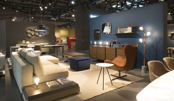 KORA sofa / LAZY rocking and swiveling armchair / SOTTOSOPRA coffee table transformer / SECRET sideboard / TWEET side table / POM POM floor light / EQUAL shelving unit / MATCH mirrors
