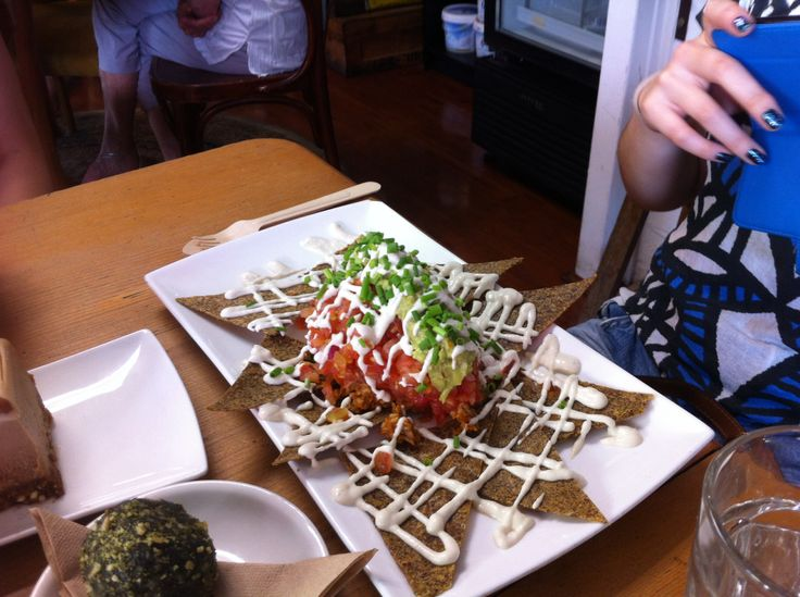 Nachos from Raw Kitchen in Fremantle. The chips are dehydrated instead of cooked.