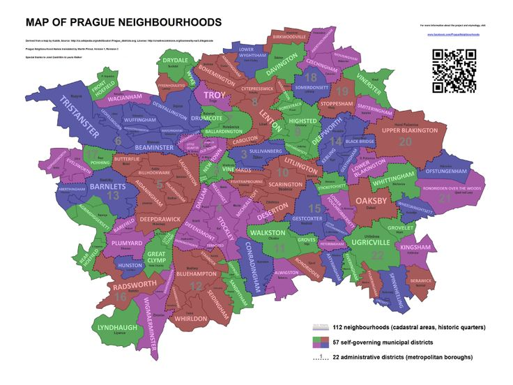 Map of Prague Neighbourhoods.
