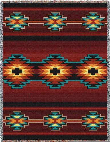 11 Southwestern blankets that will bring Santa Fe into your home:  Southwest Geometric Deep Red blanket
