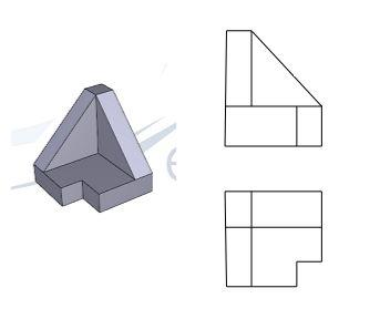 Solución a la segunda pieza de dibujo técnico. Se han representado las dos vistas principales (alzado y planta) dejando al alumno la realización de un perfil que termine de definir uno de los pl…