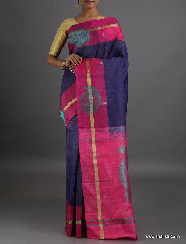 Radhika Bold Leaves of Splendor #LinenSilkSaree
