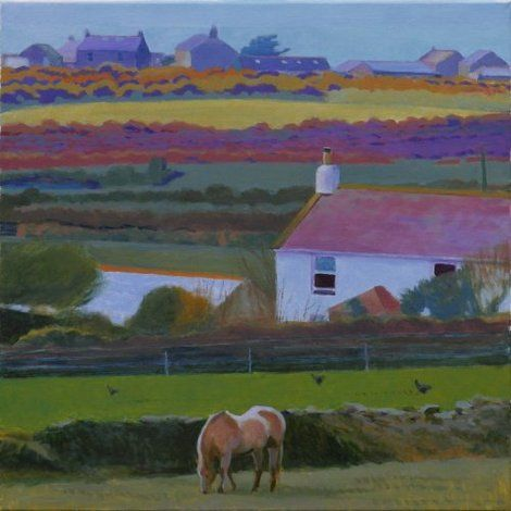 Tom Henderson Smith, Cornish farms, Carallack to Bollowal 60 x 60 cms on ArtStack #tom-henderson-smith #art