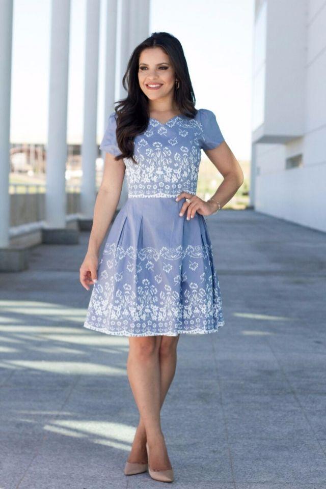Vestido Laís Saia gode em tricoline Azul - 5580