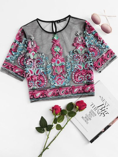 71160adf66e9d Shop Flower Embroidery Mesh Crop Top online. SheIn offers Flower Embroidery  Mesh Crop Top   more to fit your fashionable needs.