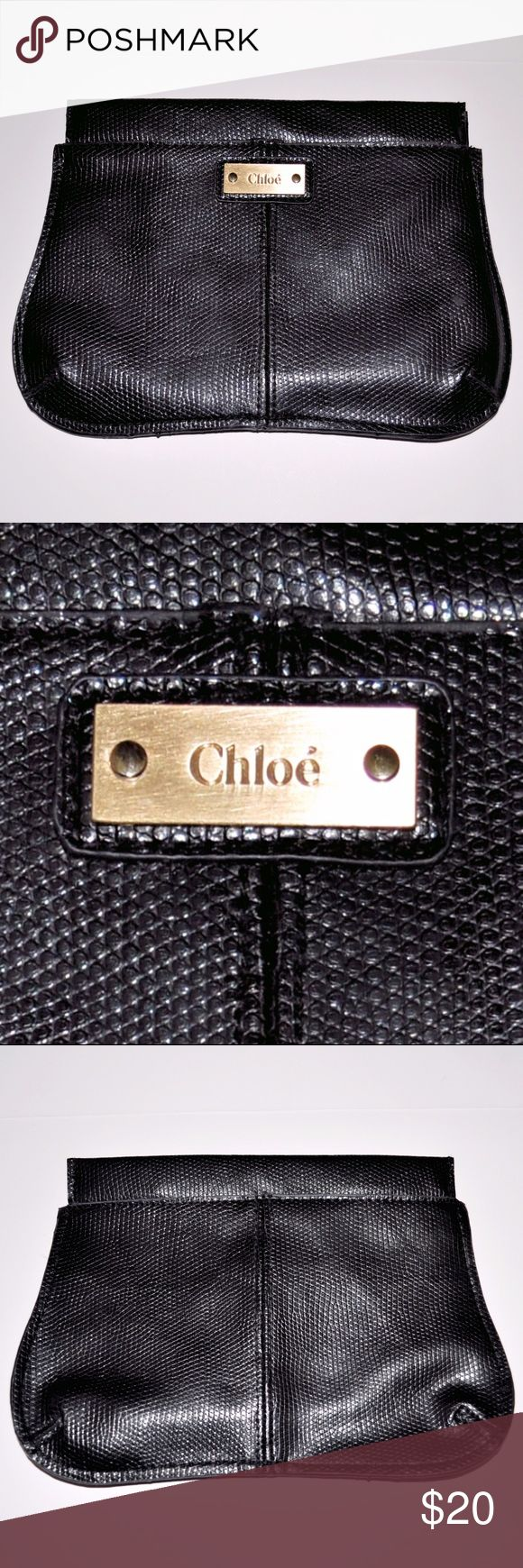 """Chloé Parfum Bag Clutch Authentic Chloé Bag or Clutch in Black Snakeskin like Texture. Magnetic Closure across the top. Signature Chloé nameplate on exterior and Chloé Parfum embossed interior tag. Perfect to use as evening clutch, makeup bag, or coin purse. Never been used, excellent condition!  Length is 9"""", Height is 5"""", Width is 7"""". Chloe Bags Clutches & Wristlets"""