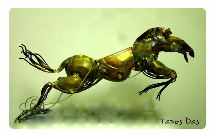 """ Running Horse  ""  EXPERIMENT ON METAL PLATE _________________________ My Metal Plate Sculpture Size : 18"" X 10"". Date : 06.12.14"